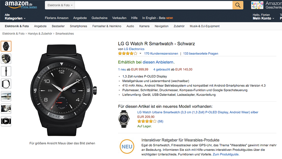 Amazon.de bietet Smartwatch Ratgeber an