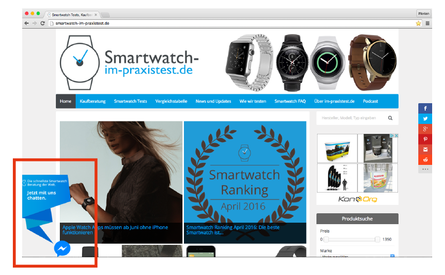 Nur für euch: Smartwatch Beratung per Facebook Live Chat