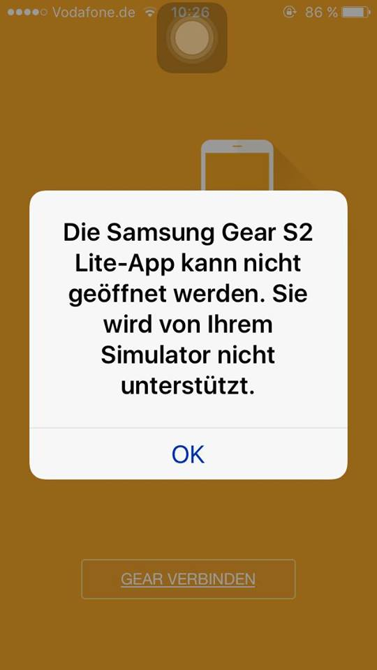 Fehlermeldung Samsung Gear S2 Manager für iOS