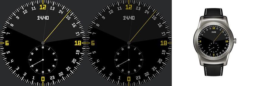 Schlichtes Watchface mit nur einem Zeiger sowie einem Chronographen