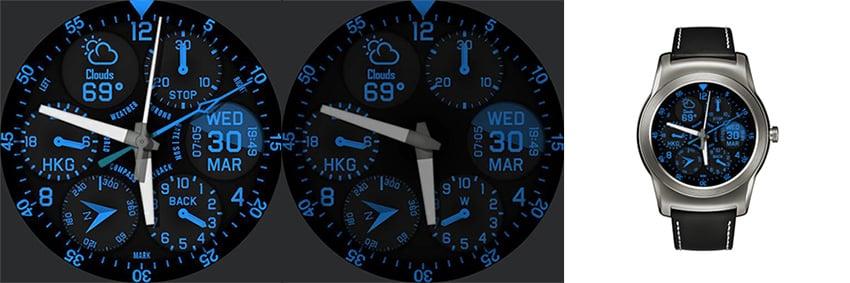Das android wear Watchface Shadow Dials ist etwas für alle, die den kompletten Überblick haben wollen