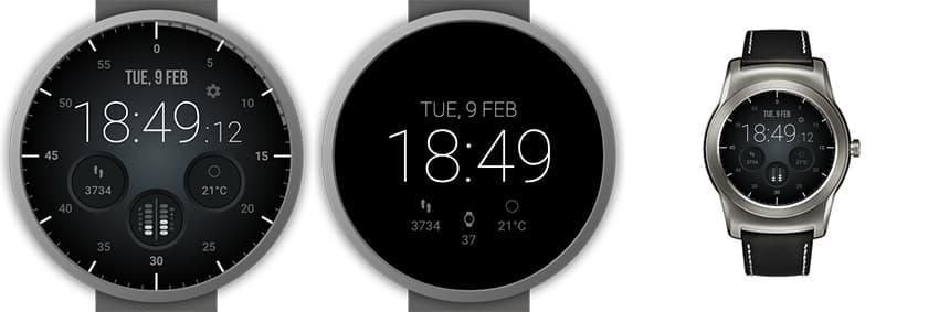 Ungewöhnliches Watchface mit digitaler Zeitanzeige und analogem Look