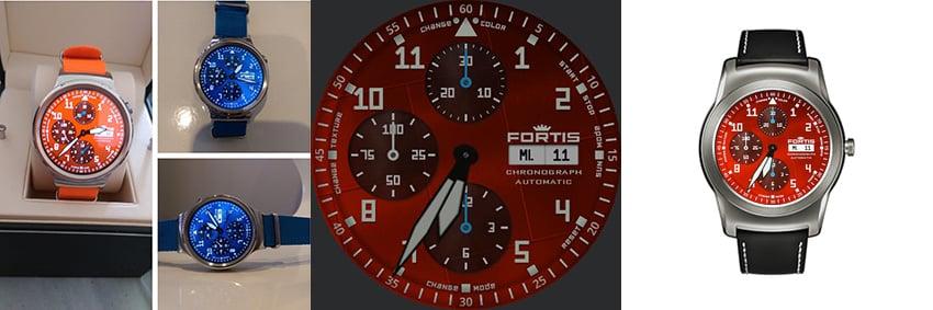 Fortis Fliegeruhr mit orangenem Ziffernblatt - fällt garantiert auf