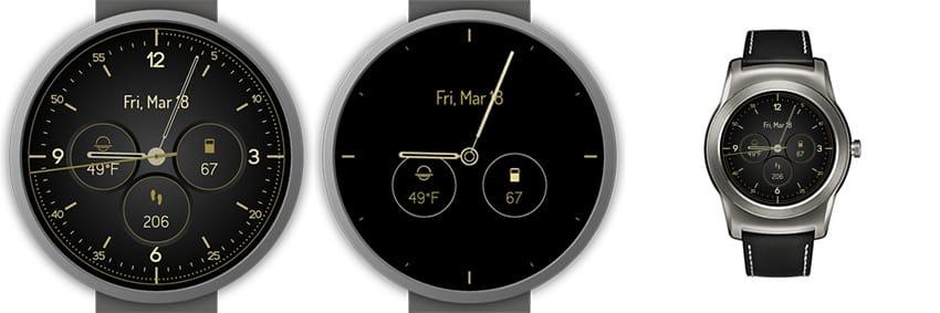 Sehr schön gestaltetes Watchface mit goldenen Ziffern und Zeigern