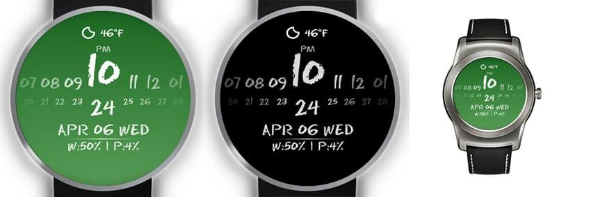 Ganz schön außergewöhnlich: Zahlen mit Kreide geschrieben auf einem Tafel-Watchface