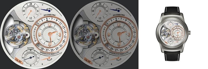 Spherotourbillon ähnelt den klassischen Schweizer Ziffernblättern mit Endlos-Kalender