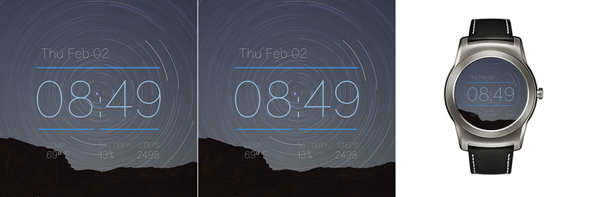 Android Wear Watchface mit einem dynamischen Sternenhimmel im Zeitraffer