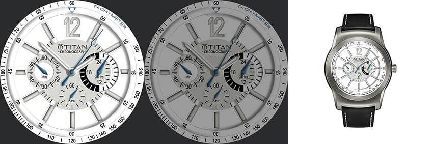 Kein Replika einer Schweizer Luxusuhr, aber genauso elegant gestaltet: Der Titan Chronograph