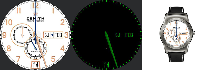 Schön gemachtes Replika-Watchface der bekannten Zenith Armbanduhr