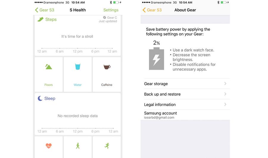 Gear S3 iPhone App